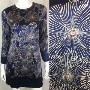 Bebe Floral Long Sleeve Silky Keyhole Tunic Dress
